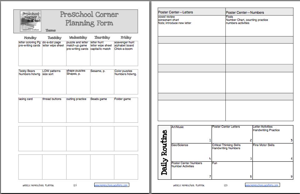 Blank Preschool Weekly Lesson Plan Template My Printable Preschool