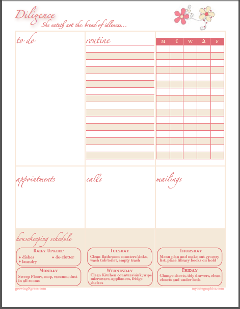 weekly home planner download